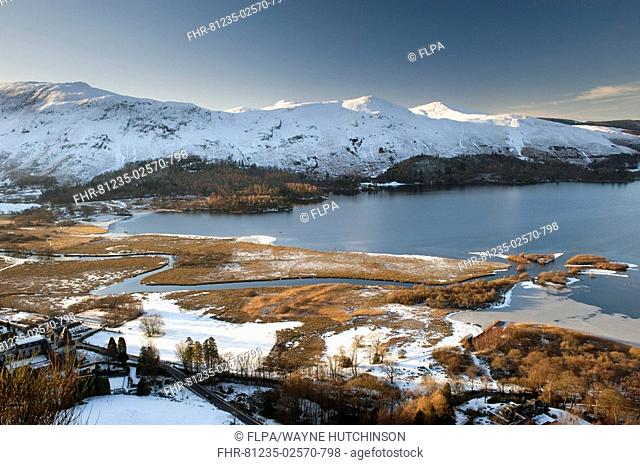 View over lake with ice and snow, Derwent Water, from Surprise View, Lake District, Cumbria, England, winter
