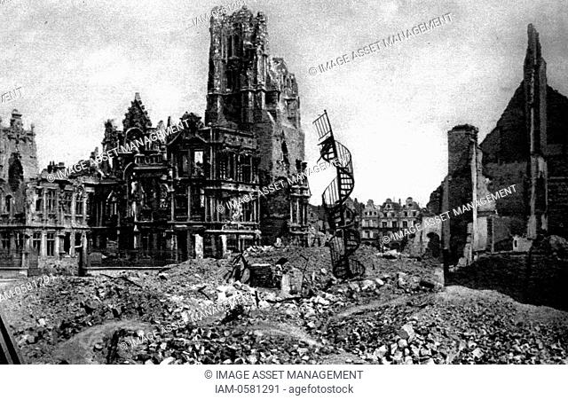 All that was left of the hotel de Ville, Arras, when the Huns were driven from the suburbs
