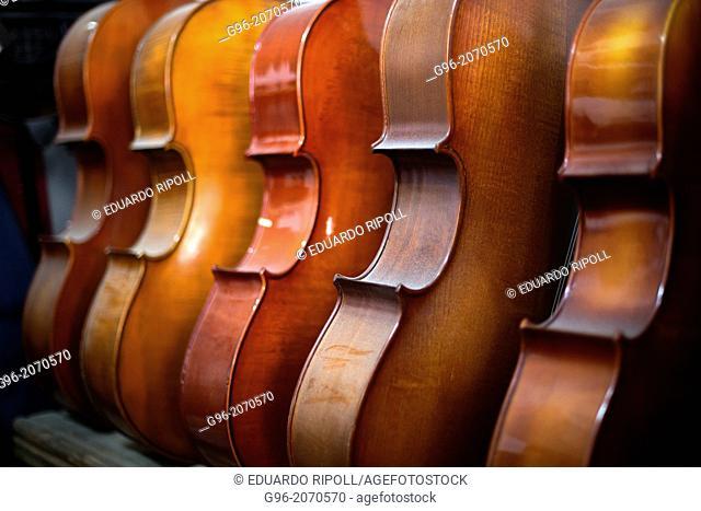 Violoncellos at luthier workshop