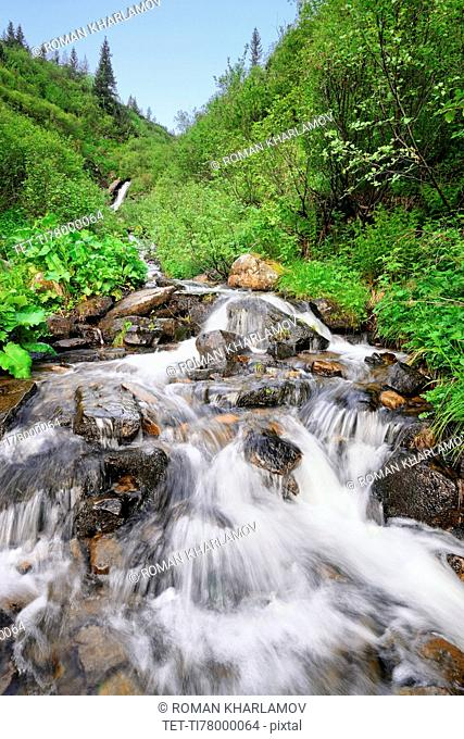 Ukraine, Ivano-Frankivsk region, Verkhovyna district, Carpathians, Dzembronskie waterfalls