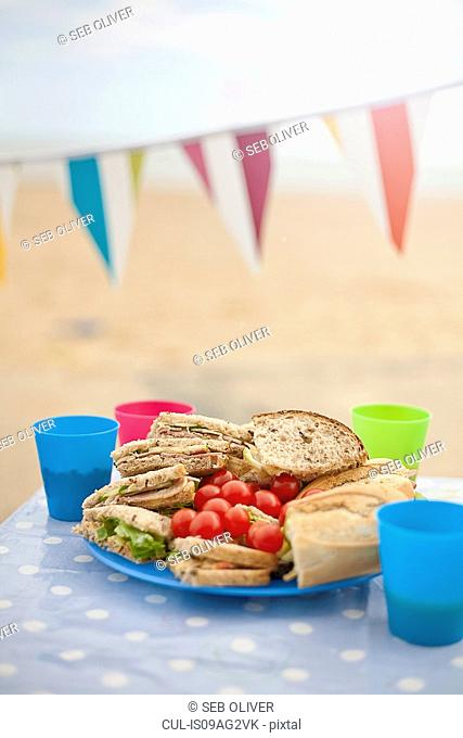 Picnic table and bunting, Southwold, Suffolk, UK