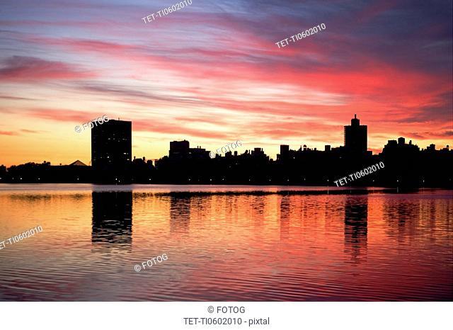 USA, New York City, Cityscape at dusk