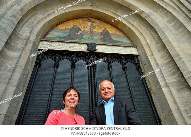 The ambassador for the Reformation Anniversary 2017 committee of the Evangelical Church of Germany, Margot Kaessmann, and panorama artist Yagedar Asisi stand in...