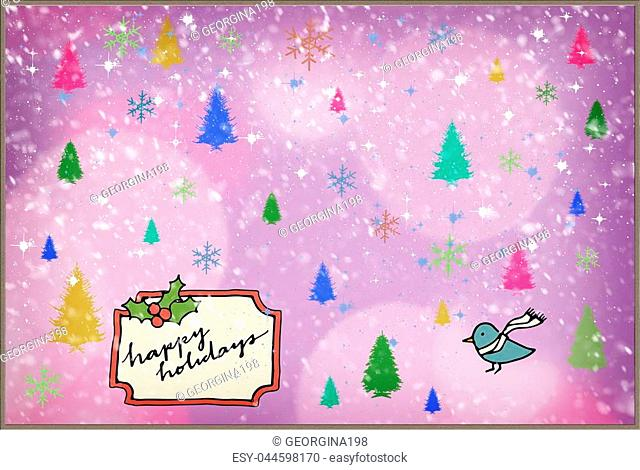 Beautiful Christmas greeting card in vintage style