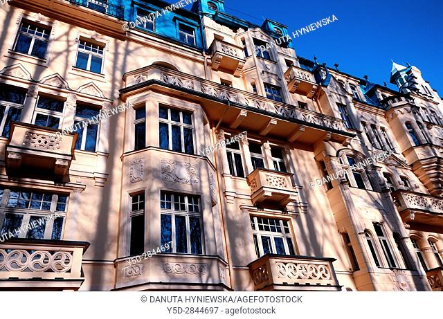 Facades of residential buildings, Spa resort Marianske Lazne - Marienbad, West Bohemia, Czech Republic, Europe