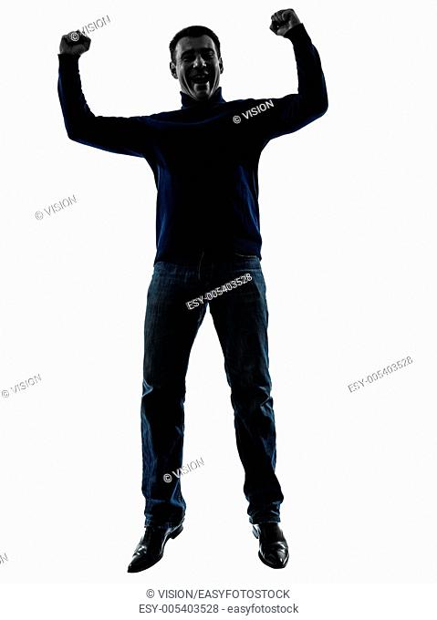 one caucasian man happy jumping victorious full length in silhouette studio isolated on white background
