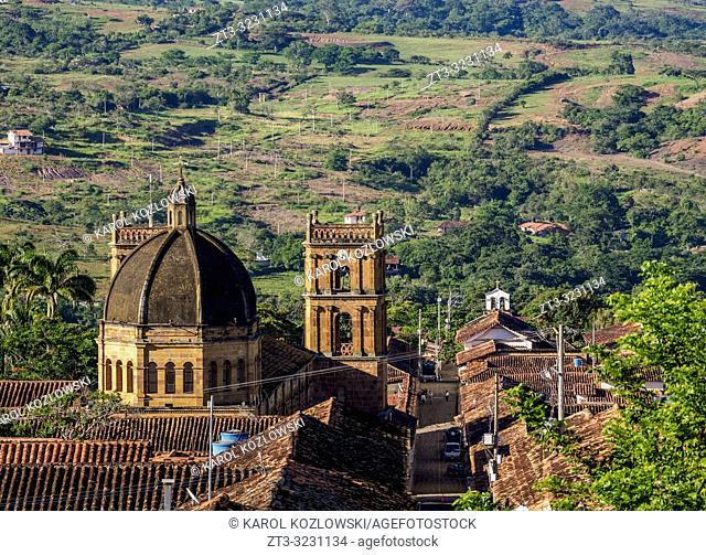 View towards La Inmaculada Concepcion Cathedral, Barichara, Santander Department, Colombia