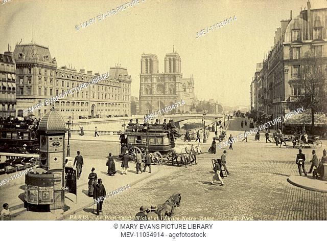 Notre Dame, and St. Michael bridge, Paris