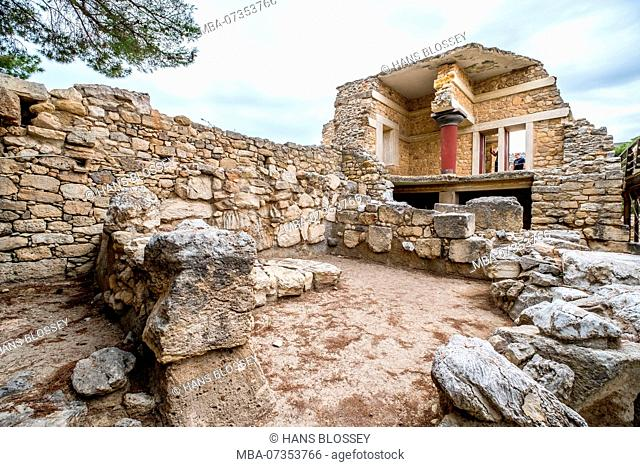Parts of the Minoan temple complex of Knossos, reconstructed double storey, Palace of Knossos, Knossos ancient city, Heraklion, Knossos, Crete, Greece, Europe
