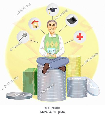 Smiling old man sitting on stacked money