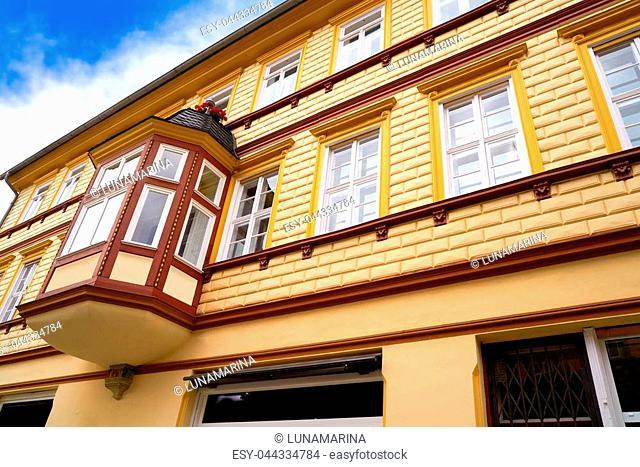 Wernigerode facades in Harz Germany at Saxony Anhalt