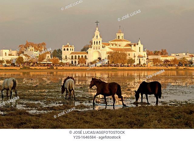 Village and Church, Ermita del Rocio, National Park of Doñana, Almonte, Huelva-province, Spain