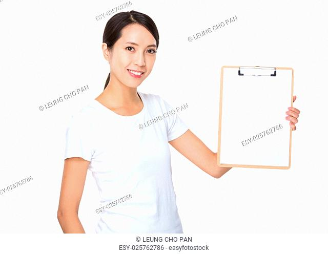 Young woman show with the white clipboard