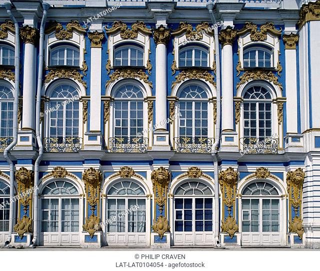 The Catherine Palace was the summer residence of the Russian Tsars. It is built in a rococo style,it was orginally designed by Johann-Friedrich Braunstein