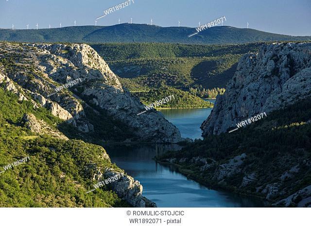 Stream and mountain range, Krka National Park, Croatia