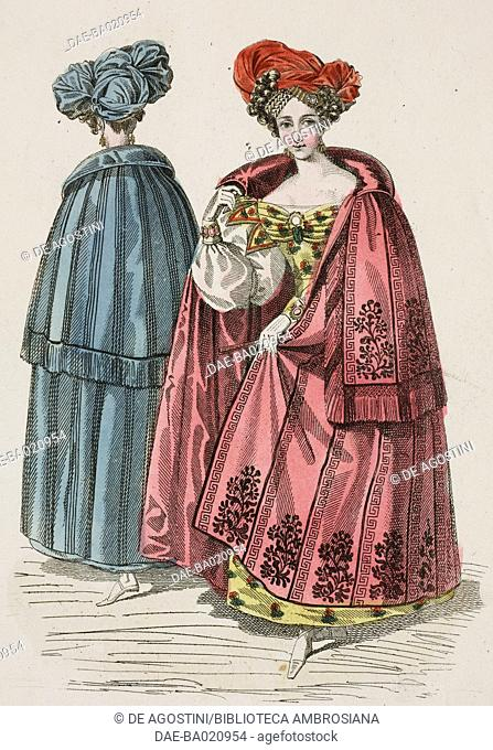 Woman wearing a yellow-flowered dress with a red cape adorned with Greek meander and floral motifs with red-cloth headdress and a woman wearing a blue-striped...