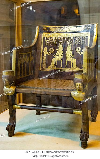 Egypt, Cairo, Egyptian Museum, from the tomb of Yuya and Thuya in Luxor : Wooden chair, with plastered and gilded decorations