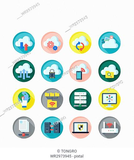 Set of various icons related to Cloud