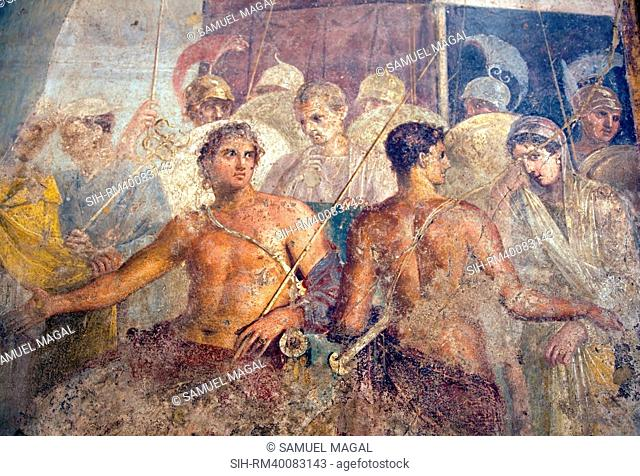 Italy, Naples, Naples Museum, from Pompeii, House of the Tragic Poet, Reg VI, Achilles and Briseis
