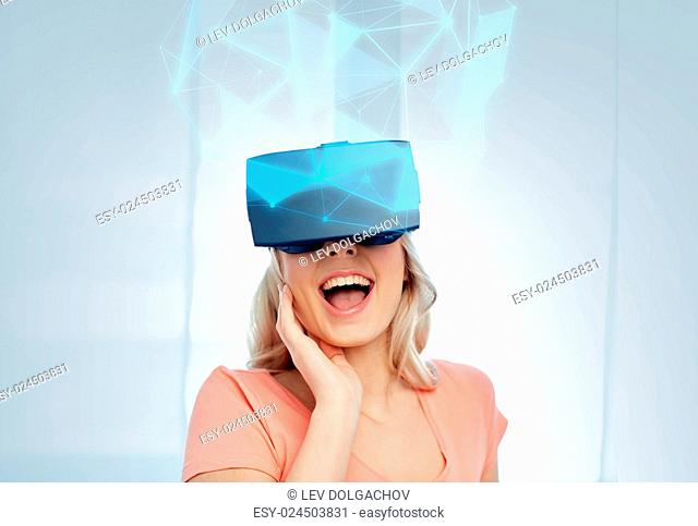 technology, augmented reality, cyberspace, entertainment and people concept - happy amazed young woman with headset or 3d glasses looking at virtual projection...