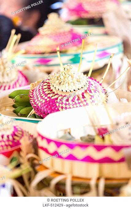 Baskets with offerings, Odalan temple festival, Sidemen, Karangasem, Bali, Indonesia