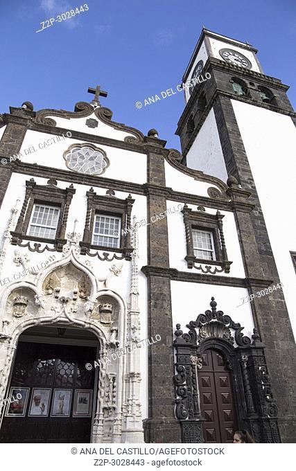 Sao Sebastiao cathedral in Ponta Delgada Sao Miguel island. Azores, Portugal
