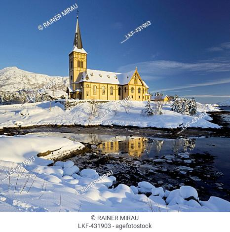 Church in Vagan, Ausvagoya, Lofoten, Nordland, Norway