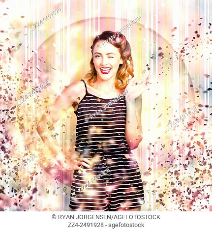 Colourful busy portrait of a beautiful retro woman celebrating a luxury evening event under a shower of confetti. Nightclub pin-up celebration