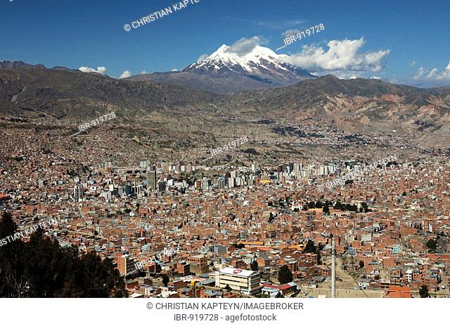 La Paz with Mt. Illimani behind, seen from El Alto, Bolivia, South America