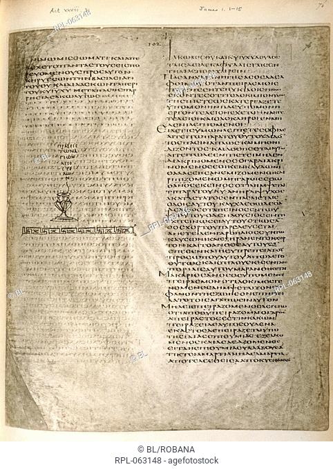 Page from Codex Alexandrinus Whole folio Text: Acts 28 30. Epistle of James 1 1-15 Image taken from Codex Alexandrinus. Originally published/produced in Eastern...