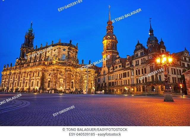 Dresden sunset Residenzschloss and Hofkirche buildings in Germany