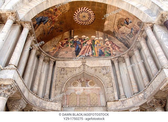 Transportation of St  Mark's body from Alexandria, Facade Mosaic Detail, St  Mark's Basilica, Venice, Italy
