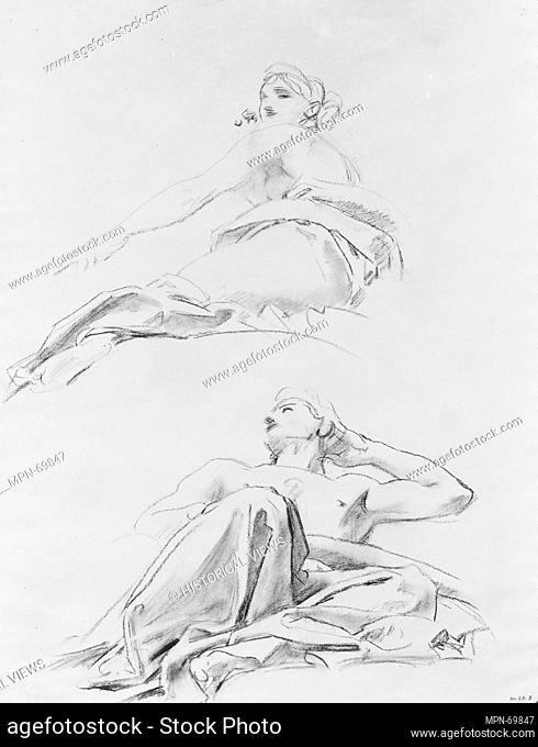 Reclining Figures. Artist: John Singer Sargent (American, Florence 1856-1925 London); Date: ca. 1916-21; Medium: Charcoal on white laid paper; Dimensions: 24...