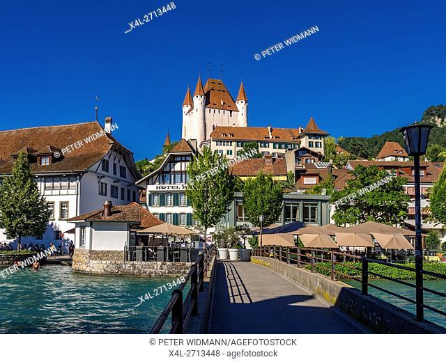 Old Town of Thun at the Lake Thun and Castle Thun, Bernese Oberland, Canton of Bern, Switzerland, Europe