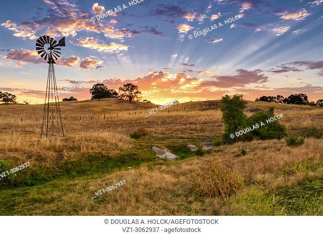 Windmill at Sunset in foothills of Central California