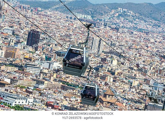 Montjuic Cable Car from Montjuic park to Montjuic hill in Barcelona, Spain