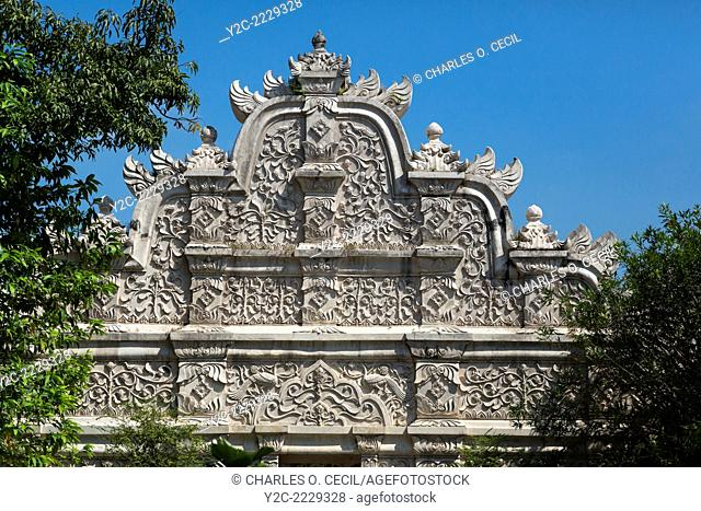 Yogyakarta, Java, Indonesia. Javanese-Hindu Floral Decorations on the West Gate Entrance to the Taman Sari, the Water Castle built by the Islamic Sultan