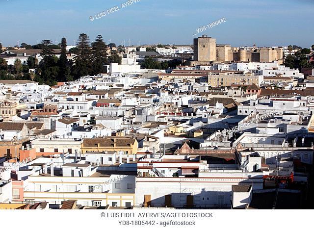 Panoramic view of Sanlucar de Barrameda from hotel Guadalquivir with background Santiago Castle, Cadiz, Andalucia, Spain, Europe