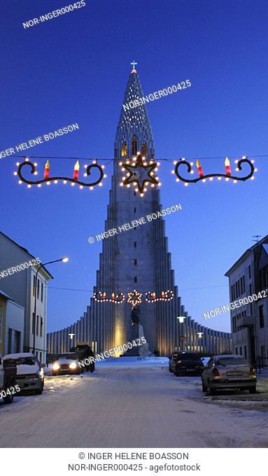 Church, Hallgrimskirkja, and street decorations at Christmastime