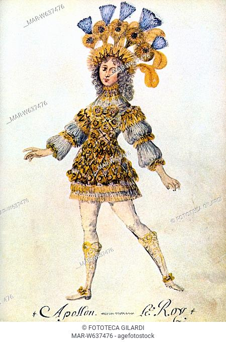 BALLETTO Luigi XIV (1638-1715) balla in costume di Apollo. Re Sole fu da sempre un appassionato estimatore ed esecutore di balletto classico