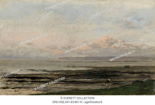 Beach at Ebb Tide, by Charles Francois Daubigny, c. 1850-78, Dutch painting, oil on panel. Seascape in Villerville-sur-Mer in Normandy with a solitary figure