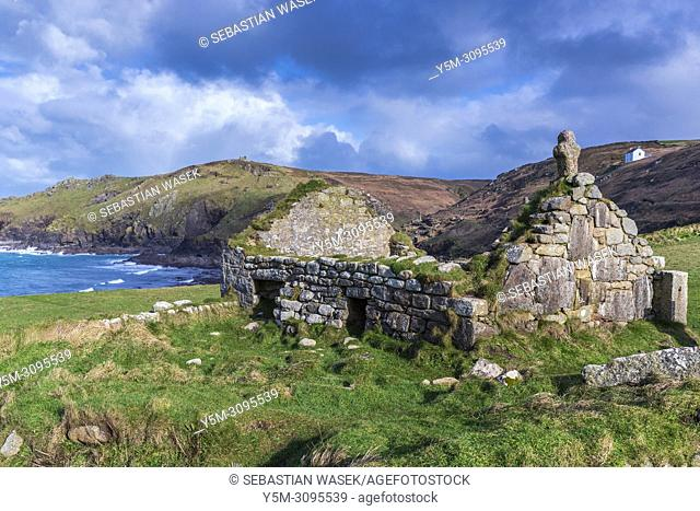 The ruins of St. Helens Oratory at Cape Cornwall, St. Just, Cornwall, England, United Kingdom, Europe