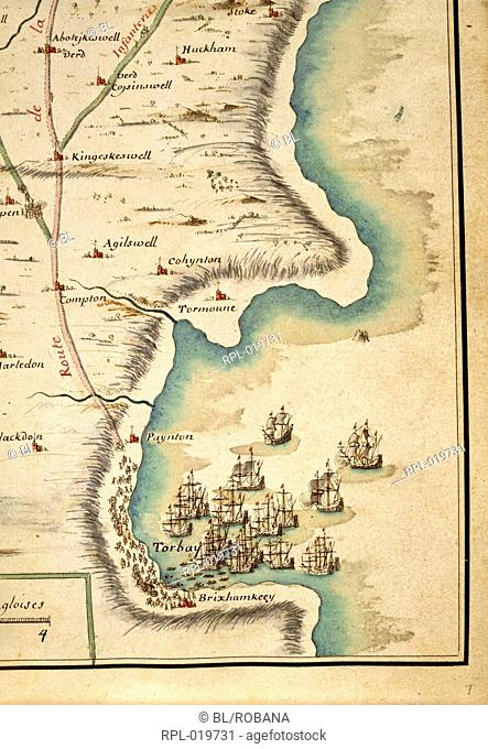 Map of Torbay, between Torquay and Brixham, with the ships of William of Orange, and showing his route from Brixham to Abbotskerswell on the 16 November 1688...