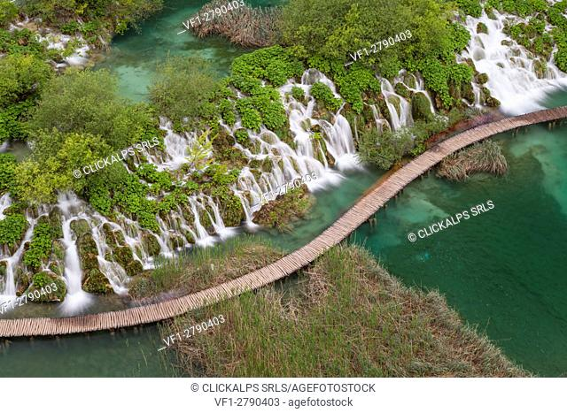 Plitvice National park, Croatia. A catwalk seen from above