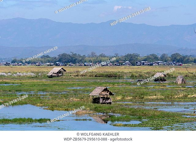 View of fields at Inle Lake in Myanmar