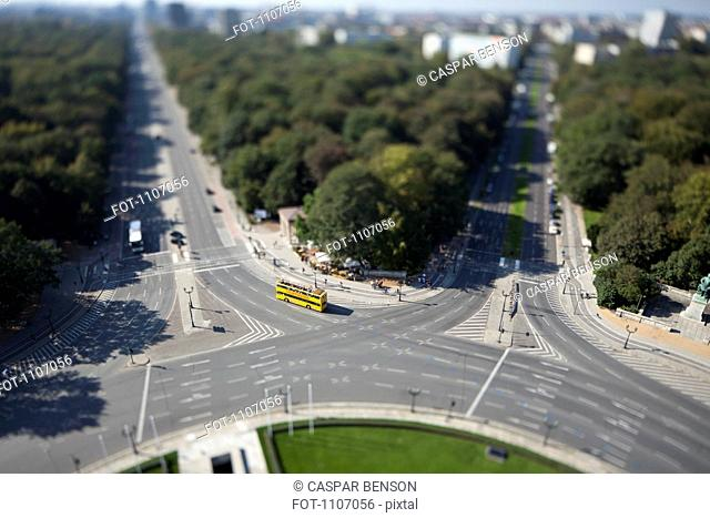 Berlin cityscape of the Tiergarten, Germany, tilt-shift