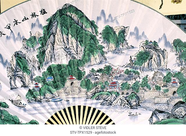 Asia, China, Chinese, Fans, Guangxi, Guilin, Holiday, Landmark, Province, Scenery, Souvenir, Tourism, Travel, Typical, Vacation