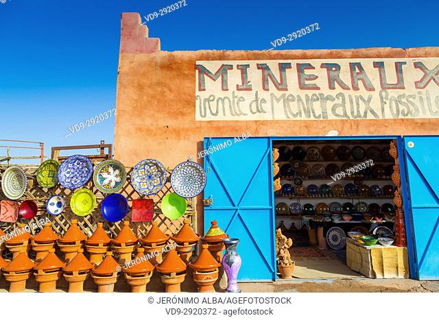 Pottery in a craft shop, Ouarzazate. Morocco, Maghreb North Africa
