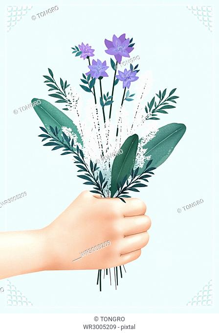 Hand holding a bunch of flowers and leaves