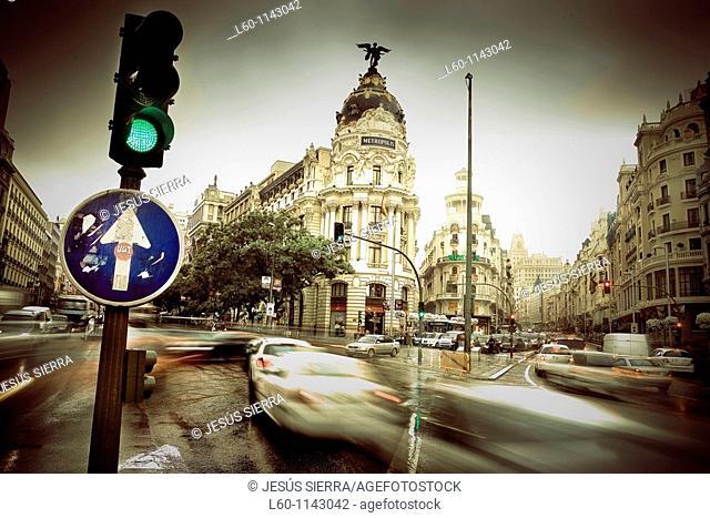 Metropolis building and Grassy building, romantic view  Gran Vía street, Madrid, Spain